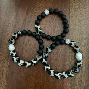 Jewelry - Set of 3 stone and pearl bracelets